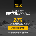 Jack Wolfskin Black Friday – 20 % Rabatt auf alle 3-in-1 Jacken