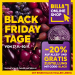 BILLA Onlineshop Black Friday – 20% Rabatt auf alles* inkl. Lieferung!