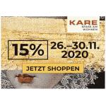 KARE Black Weekend 2020 – 15% Rabatt auf alles (inkl. Sale)